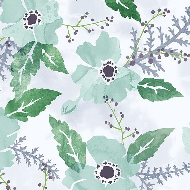 winter floral by Embletree, via Flickr--such lovely colors: Dainty Green, Floral Patterns, Floral Paintings, Winter Flower, Color Rainbows, Floral Illustrations, Phones Wallpapers, Photo, Winter Floral Prints