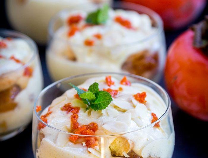 kaki frucht rezepte, mousse mit weißer schokolade und sharonfrüchten