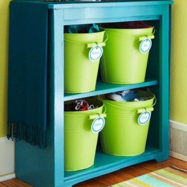: Shoes, Organization, Color, Kids Room, Bucket, Shoe Storage, House, Storage Ideas, Diy