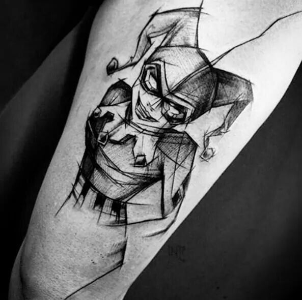 Sketchy Harley Quinn tattoo. I love the look of this one, it's so beautiful