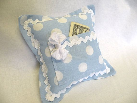 Tooth Fairy Pillow for Girls Pale Blue and White by SweetRinaLou, $16.00
