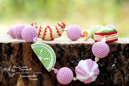 """Слингобусы """"Сладкоежка"""". Готовая работа. Продается. #crochet #amigurumi #bijou #jewelry #for_children #bead  #handmade"""