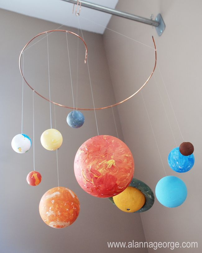 Solar System Mobile: I think I could make one for Jules room using a globe lamp as the sun, clear Christmas ornaments, a wire hanger, and paint.