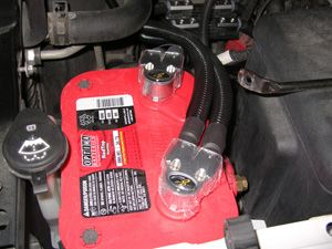 Battery Relocation - power connected to optima red top battery in gmc sierra @ SantaFeAutoSound.com