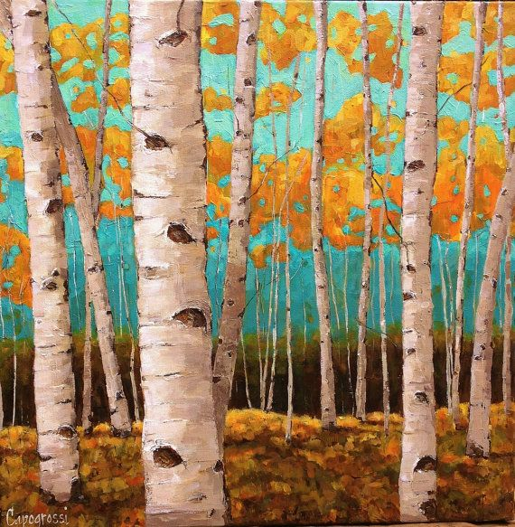 FALL ASPENS Large Original Painting by, Artist Beth Capogrossi Trees Birches Birch Painting Thick Knife via Etsy