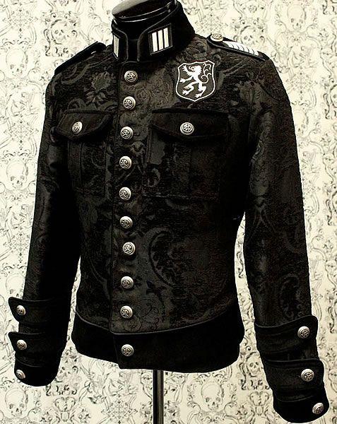 Royal Marine Jacket - Black Tapestry by Shrine Clothing Goth Steampunk Mens Jackets