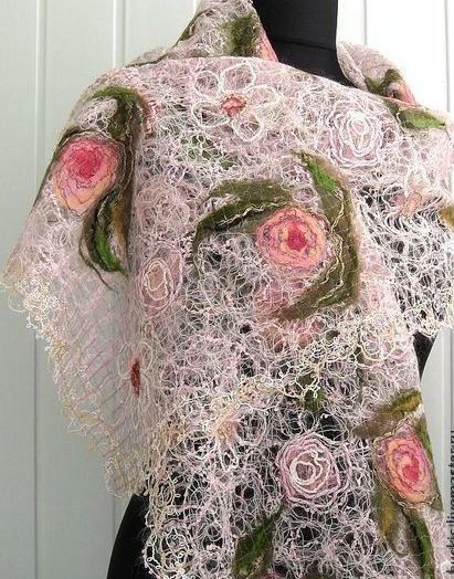 Handmade shawl pale pink made using crazy wool technique, for women. This unique shawl is made using mohair yarn and soft merino wool and other