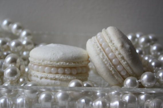 Pearl French Macaron Wedding Macaron Tiffany Blue by LeBonbonLA, $42.00, check these out, with edible pearls!