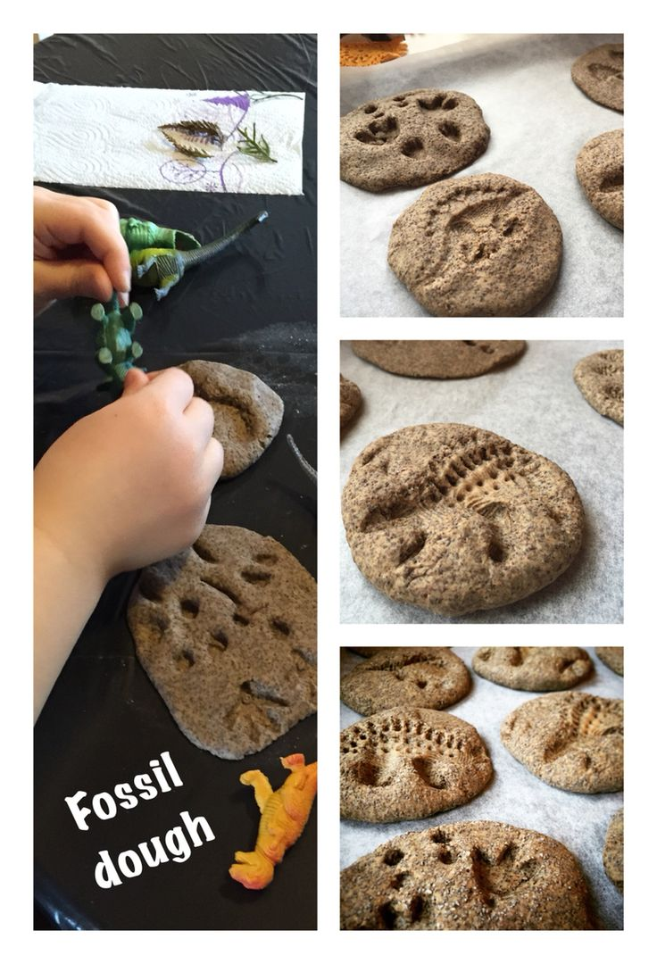 Art project with kids: fossil dough and dinosaurs #diy #artproject #kids #dinosaur #fossil #fossildouhg #dough #coffeedough #saltdough