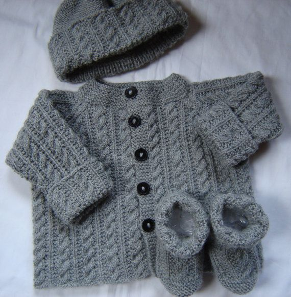 Baby Boy Sweater Set Hat Booties Hand Knit  Gray by SwanAvenue
