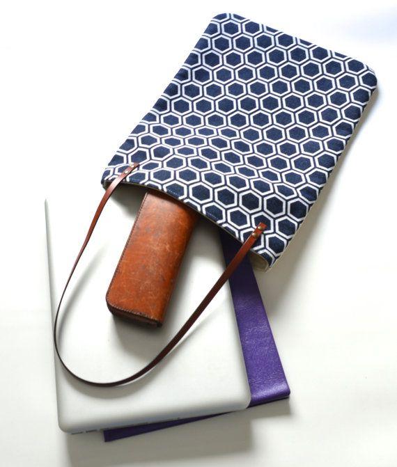 denim laptop bag japanese design bag fabric tote by UMEHARAKABAN