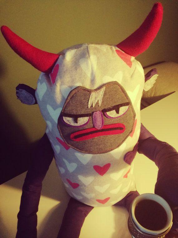 Unique STUFFED DEVIL Grumpy toy. Grumpy devil. #plushie #grumpy #funny #horrorforkids