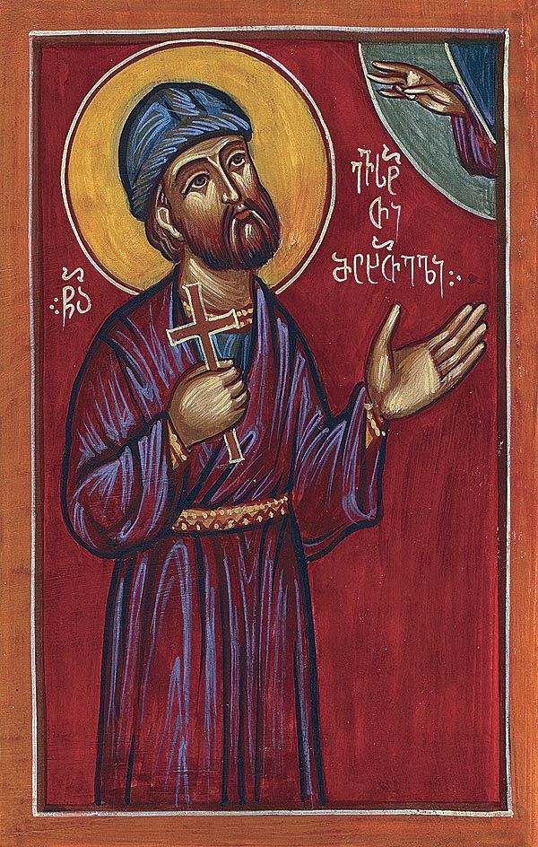 Martyr Eustathius of Mtskheta was Persian. He converted to Christianity & moved to Georgia during Persia rule. He was arrested for being Christian, he endured many tortures by the marzban who ordered to shave the St's & other captives' heads & beards, bore holes in their noses, hang weights round their necks, fetter their bodies in chains & cast them into prison, they were in confinement for 6 months. After a new ruler, the st. was freed. 3 years later another marzban had Eustathius beheaded