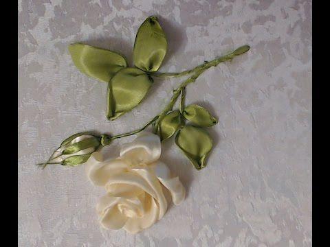 Вышивка лентами мастер класс Роза - урок 2 от Наталии Уритян - YouTube