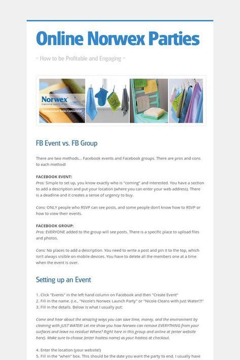 How To Run an Online Norwex Party - Facebook