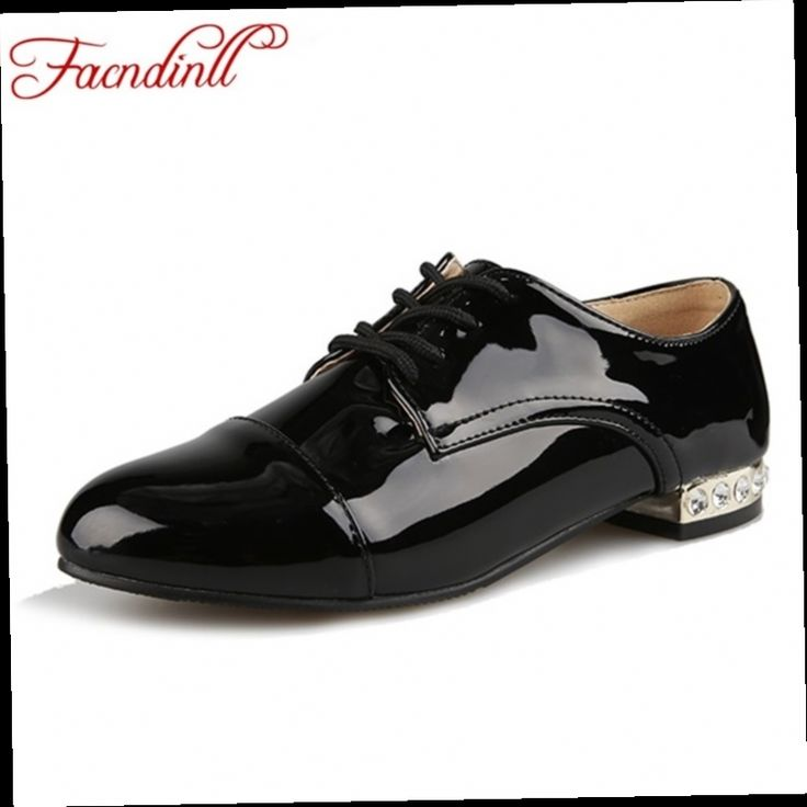 47.80$  Buy here - http://ali6rh.worldwells.pw/go.php?t=32732487627 - fashion patent leather lace-up women flats 2016 spring autumn shoes sexy pointed toe black casual shoes ladies shoes big size 47.80$