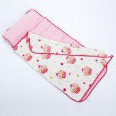 Pink cupcake rest nap mat with pillow  blanket par GrannySmithKids