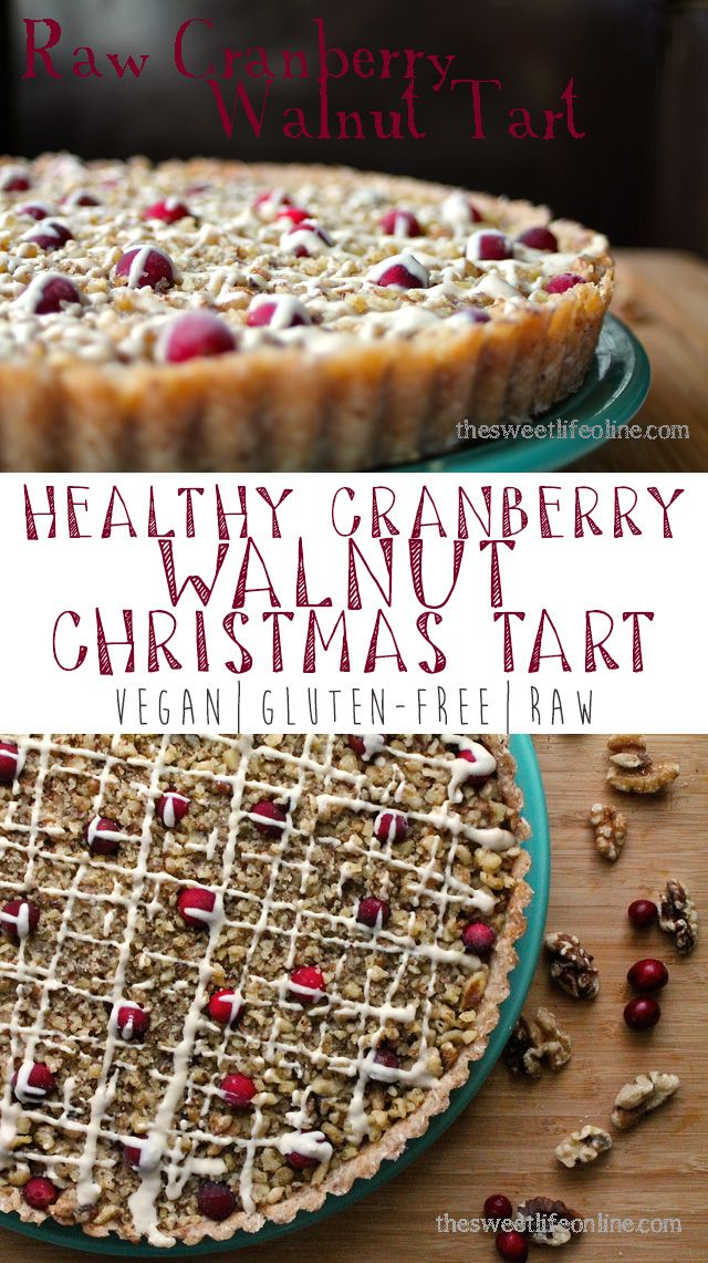 Combine decadence and health with this raw vegan Cranberry Walnut Christmas Tart with White Chocolate Drizzle. Click the recipe for the full recipe!
