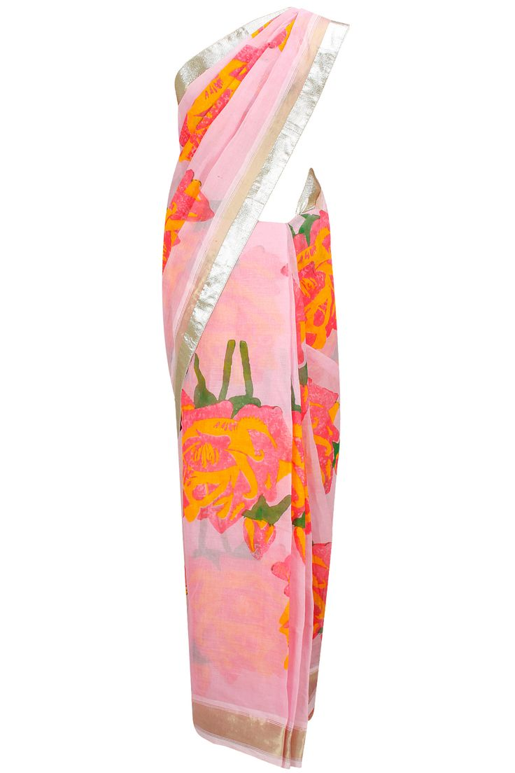 Baby pink rose print sari with pink blouse piece available only at Pernia's Pop-Up Shop.