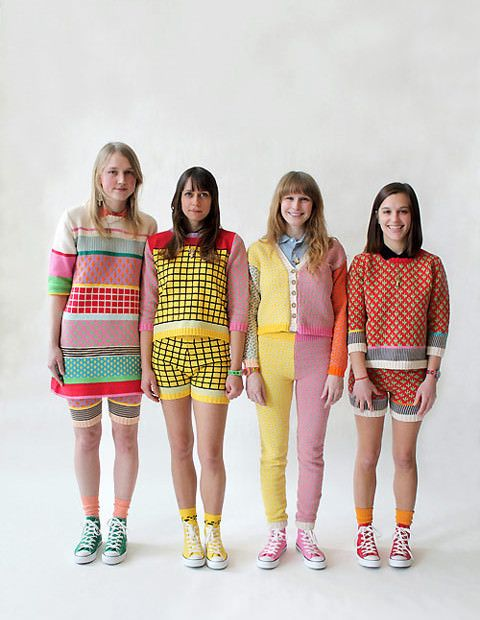 I'm crushing so hard on Annie Larson's knits. They're like wearable Memphis group furniture. She designs, knits, and assembles every piece herself in her B