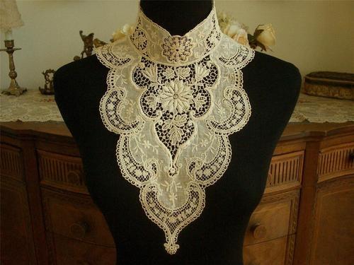 Antique Vtg Victorian Edwardian Schiffli Guipure Lace Embroidery Collar Dress Ft | eBay