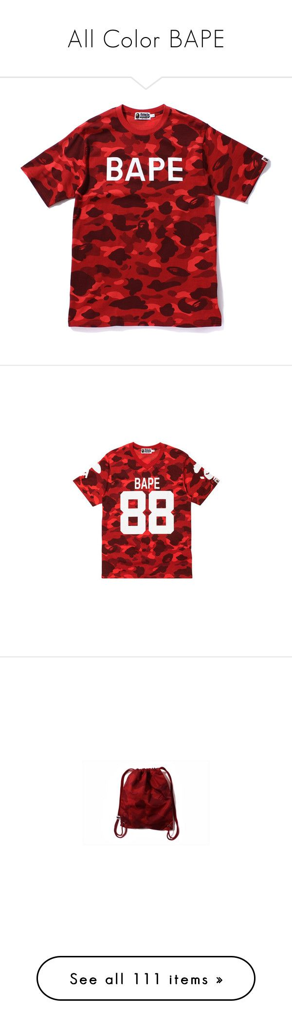 """""""All Color BAPE"""" by xxxfasiontrendsxxx on Polyvore featuring tops, t-shirts, shirts, items, t shirt, camouflage shirts, camouflage tee-shirt, cotton t shirts, camo tee-shirt and camo shirt"""