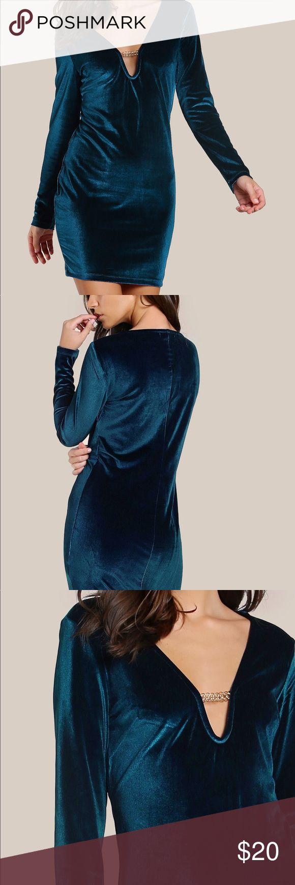 Velvet Blue Bodycon Dress Velvet long sleeve bodycon dress Dresses Long Sleeve