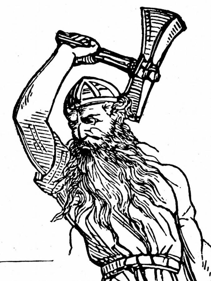 Thor wields the hammer Mjöllnir.