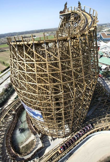 This is a new wooden roller coaster at Europa Park, Rust, Baden Baden, Germany. The ride is 40 metres high, with a a top speed of more than 100 km/hr, and a vertical acceleration which can reach a strength of 3.5G.Picture: SAUTIER PHILIPPE/SIPA / Rex Features