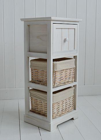 Cape Cod Bathroom Furniture Storage Basket · Bedroom Storage FurnitureWhite  ...