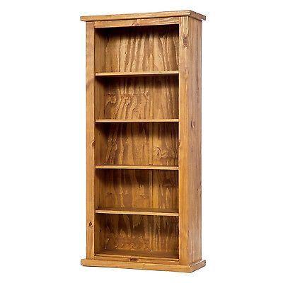 http://bask.yt/?s8R9G Farmhouse Rustic Honey Tall Bookcase Open Storage Media Unit - 5 Shelves £169.99