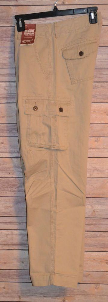 MENS KHAKI CHINO CARGO PANT COLOR: KHAKI SIZE: 29X30 STRAIGHT LEG 6 POCKET #ArizonaJeans #Cargo