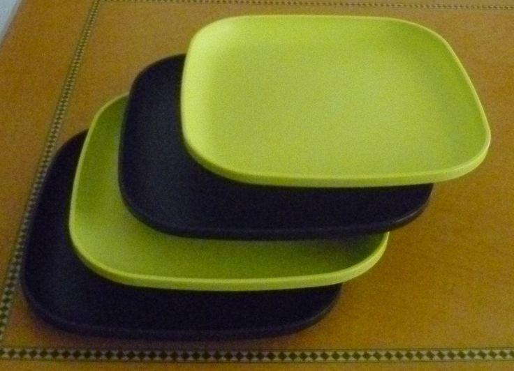 Tupperware Free Ship New 4 Dishes Square Classic Plates Raised Edges Green Black #Tupperware
