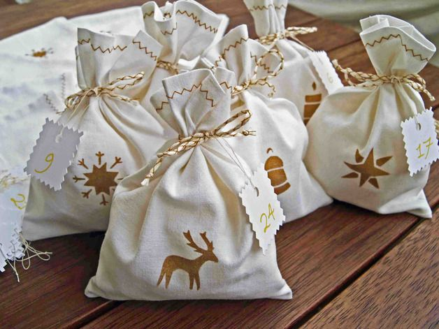 Advent Calendar – Advent bags, hand-painted – a unique product by manubrium on DaWanda
