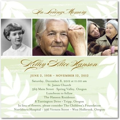 27 best images about Memorial Celebration of Life ideas on – Funeral Invitation Cards