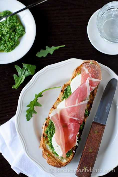 Kitchen Confidante » Bruschetta with Mozzarella, Prosciutto and Arugula Pesto   Donna Hay Styling & Photography Challenge 6