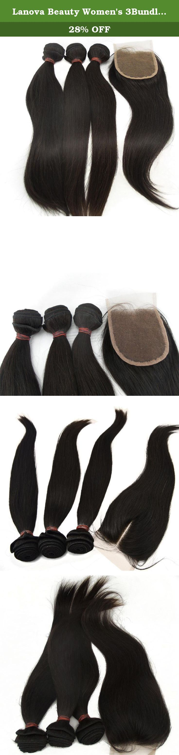 """Lanova Beauty Women's 3Bundles+1Closure Brazilian Straight Hair Raw Virgin Remy Human Hair Extensions 3Pcs10""""3 and 1piece Remy Hair Closure(44)10"""". 100% human virgin hair, 1,Cut hair from young healthy girl's braid, the hair is with full cuticle; 2,The hair is shine, soft, thick and no tangle and no shedding; 3,With high technic and our hair texture last Long time,Using head sewing machine make the double weft, it can dye to any color you like; 4,Lanova hair is easily..."""