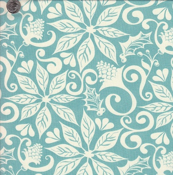 Moda Twelve Days Floral Silhouette in Aqua by quiltsandwich, $6.00