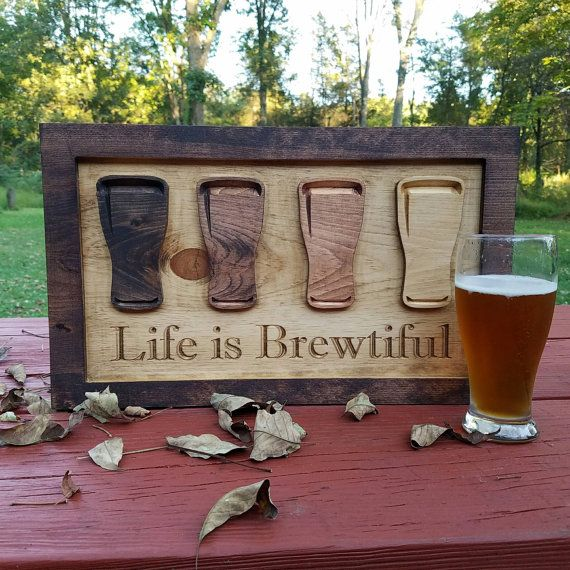 Beer Sign   Gift For Boyfriend   Anniversary Gift   Life Is Brewtiful    Rustic Bar Sign   Man Cave Sign   Gifts For Him   Beer Lover Gift
