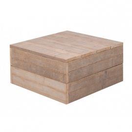 Bertus  Lage vierkanten steigerhouten lounge tafel. Met zwenkwielen is deze makkelijk te verplaatsen.  lxbxh  80x80x43cm