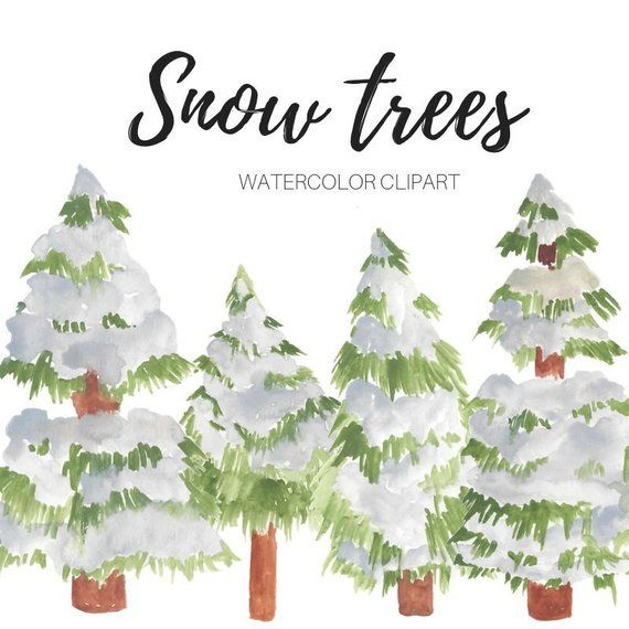 Christmas Clipart Tree Snow Tree Watercolor Forest Snow Etsy Holiday Graphics Clip Art Watercolor Trees