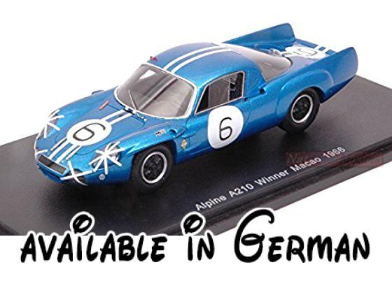 B077WBJRBM : SPARK MODEL S43MC66 ALPINE A210 N.6 MACAO 1966 MAURO BIANCHI 1:43 MODEL DIE CAST. Peso/Weight: 0.3