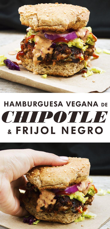 Esta Hamburguesa Vegana de Frijol Negro Sabor Chipotle, no es sólo irresistible ¡también es saludable!