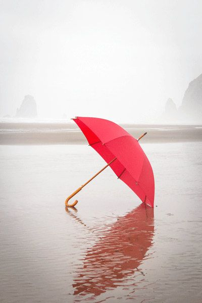 Beach Photography, The Red Umbrella, RED, Summer Photograph, Summer Rain, Cool, Misty, Fog, Beach, Ocean Photograph, Cannon Beach Oregon