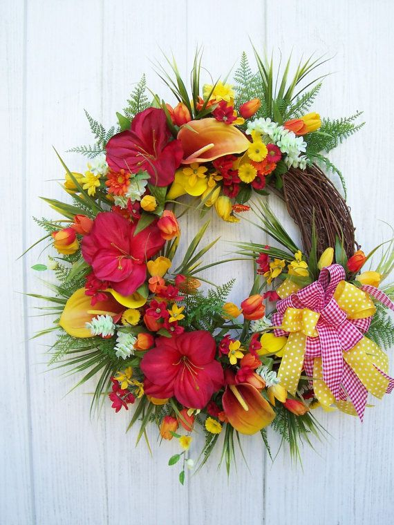 Lg. SPRING SUMMER Wreath With A TROPICAL Flair by UpTownOriginals