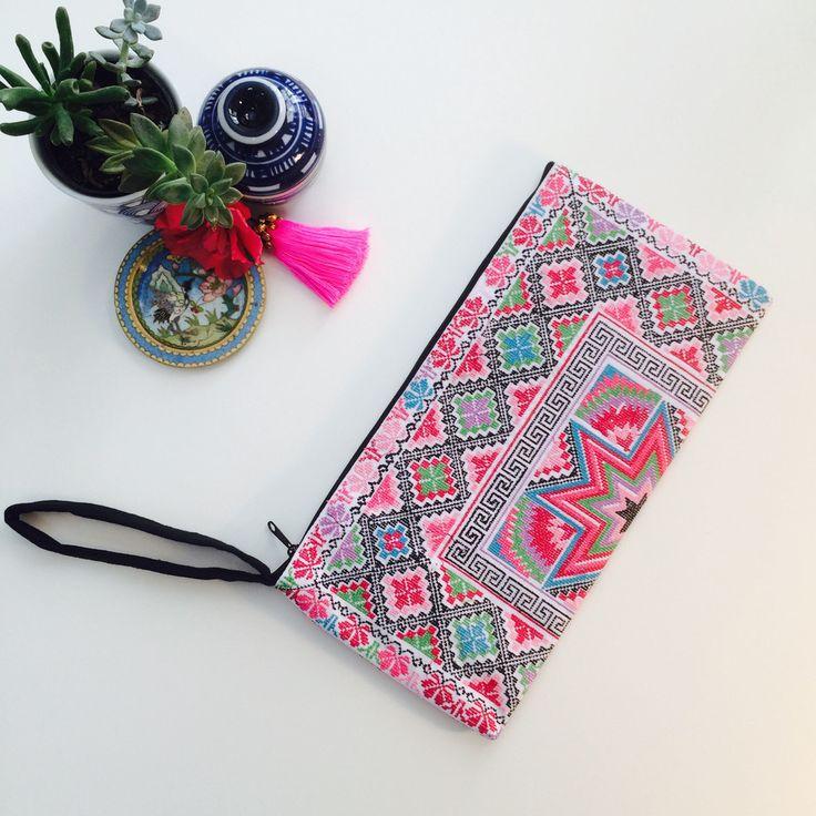 Pink Star Cross-Stitch Wristlet Clutch