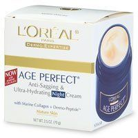 L'Oreal Skin Expertise Night Creme Age Perfect for Mature skin Anti-Sagging And Anti-Age Spot Hydrating Moisturizer Cream with Soy Seed Proteins, 2.5 Ounce Jar by L'Oreal Paris. $10.80. Mature Skincare. With Soy Seed Proteins + Dermo-Peptide. With age, sun damage and hormonal changes, natural support to the skin diminishes and skin starts to sag. Now, Age Perfect adds back support and resiliency to the skin. The Technology: With Soy Seed Proteins , Age Perfect Night d...