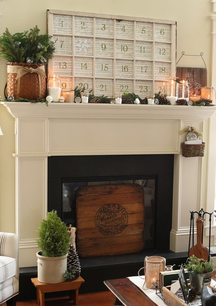 807 best images about christmas mantels on pinterest for How to decorate a fireplace for christmas