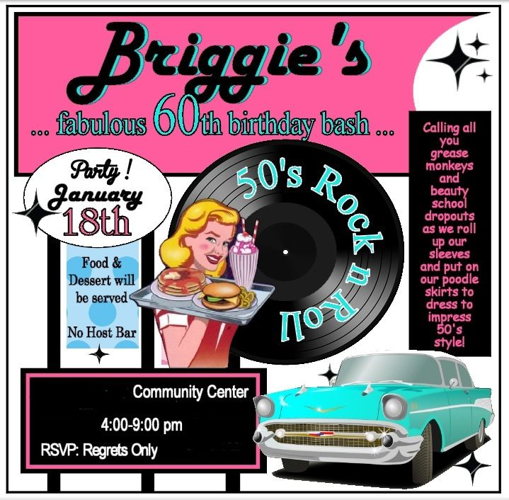 50's Diner Theme Party: Invitation. | 50's Diner Theme ...