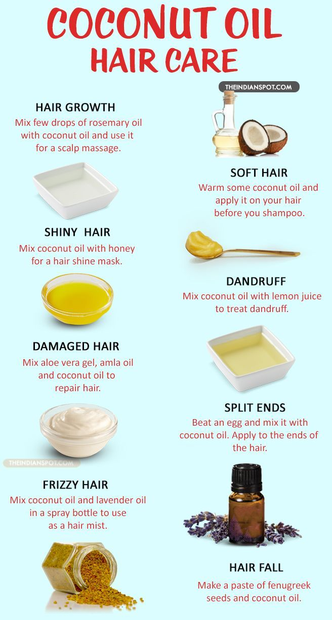 Coconut oil makes the hair healthier and can help it grow faster when used regularly in your hair care routine.